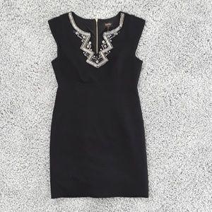 NWOT Laundry Black Dress with Applique Neckline